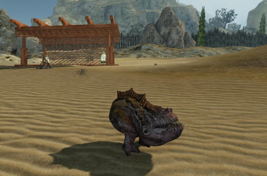 Hogglo Pygmy pet in front of the stable on Planet Toulan